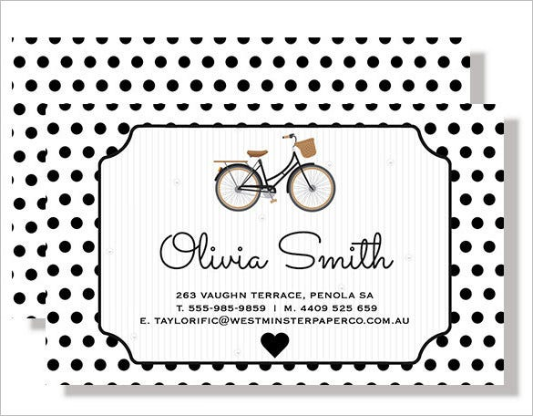 personalised bicycle contact card black white spot print