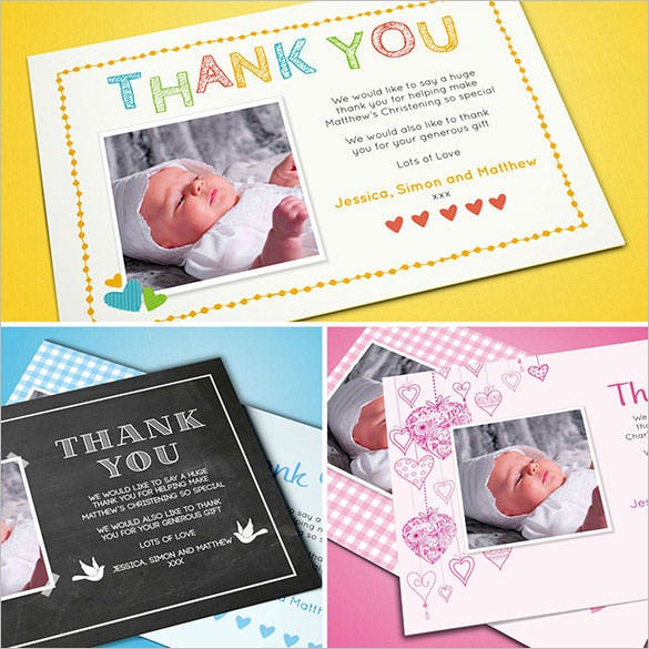 personalised christening thank you card for boygirl