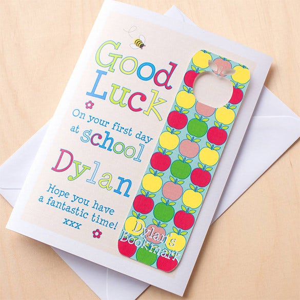 personalised first day at school congratulations card