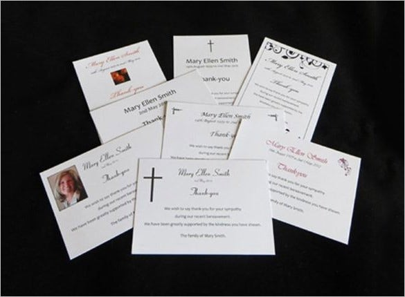 personalised funeral service thank you card