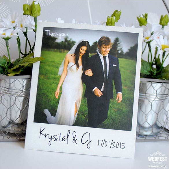 personalised polaroid wedding thank you card