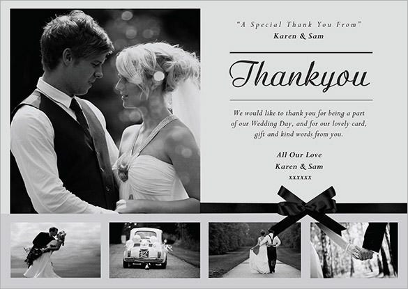 personalised wedding thank you card with 5 photos