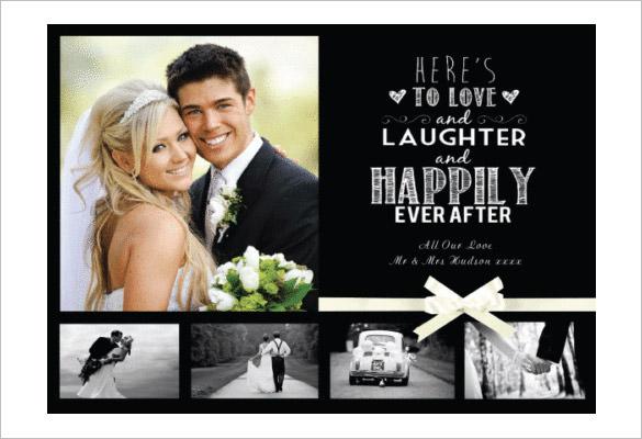 personalised wedding thank you photo card