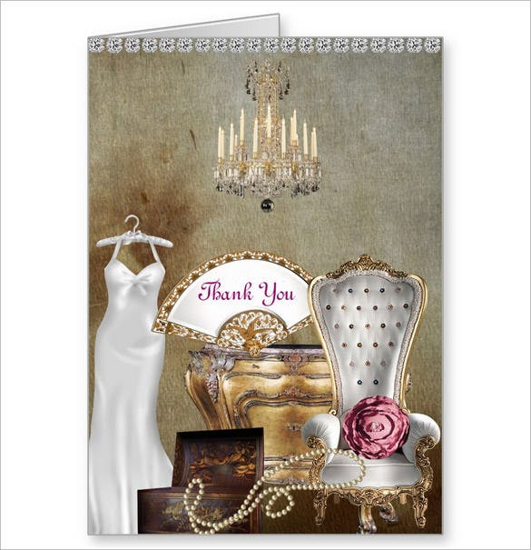 personalized bridal shower thank you card