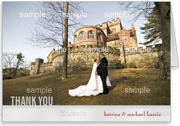 personalized silver wedding thank you card