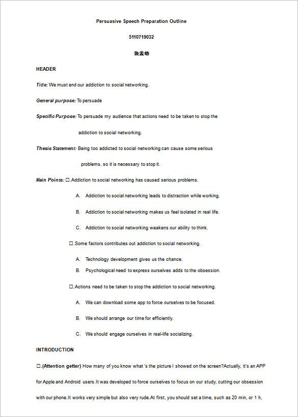 Presentation Outline Format Example  Apa Paper Outline Sample