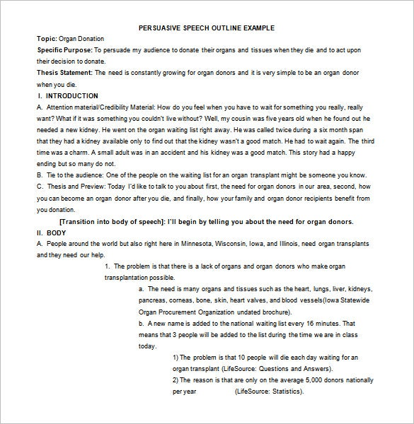 Persuasive Speech Outline Template   Free Sample Example