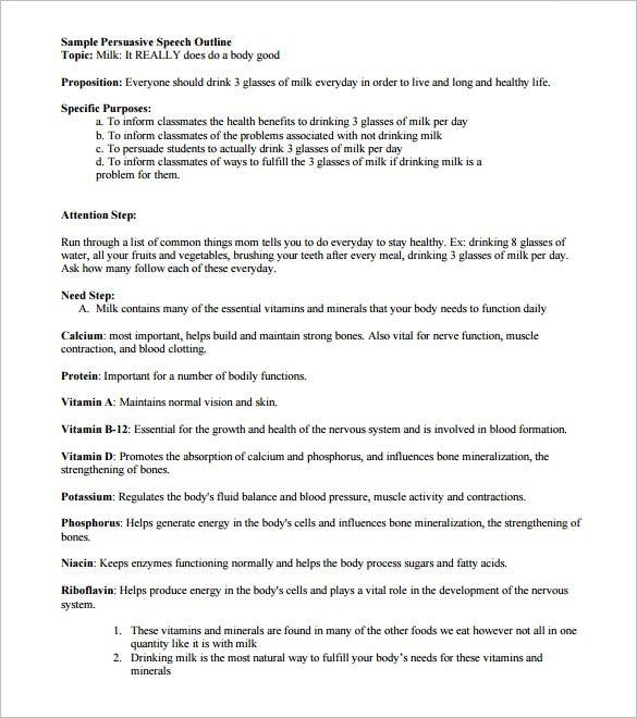 7  persuasive speech outline template