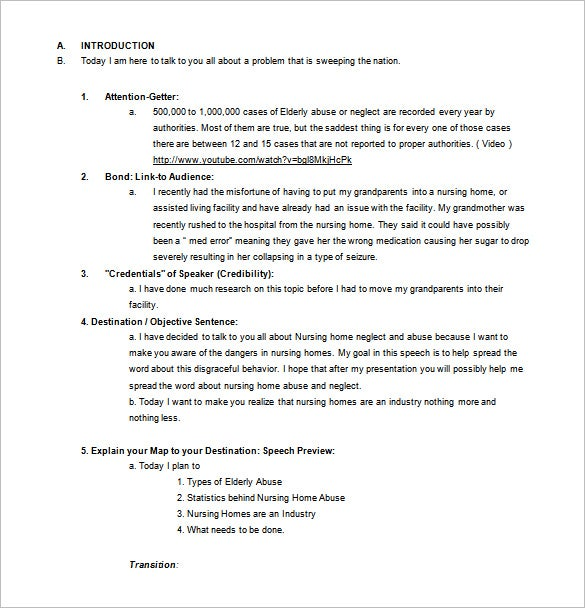 Persuasive Speech Outline Template   Free Sample Example Format