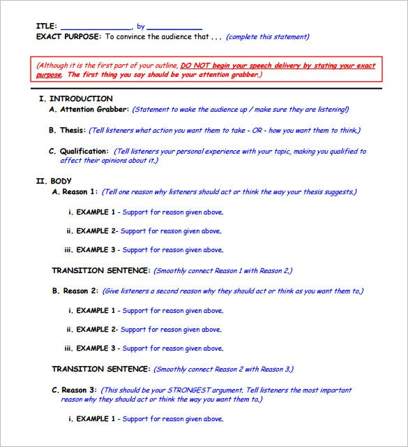 Persuasive Speech Outline Template – 9+ Free Sample, Example