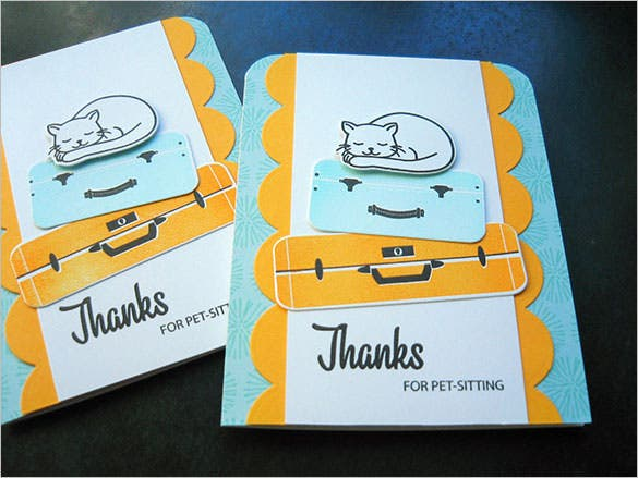 pet sitting thank you note card templae