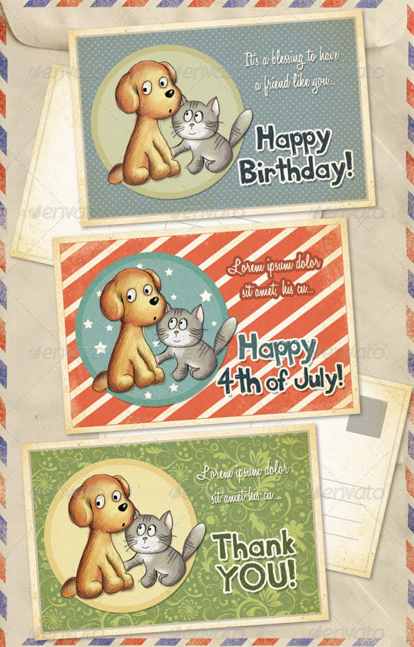 pets birthday thank you greeting cards