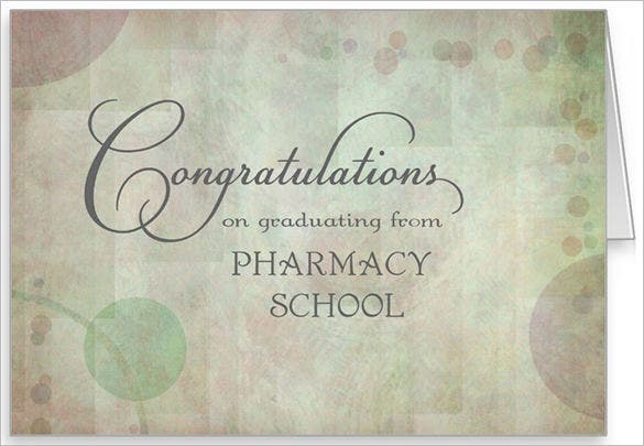 pharmacy school congratulations card example