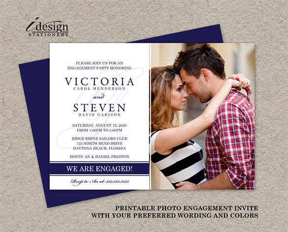 photo engagement party invitation card sample