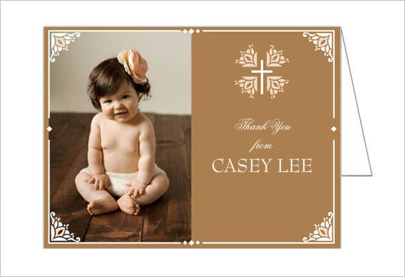 photo thank you card for christening