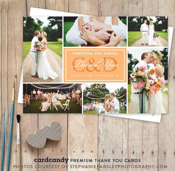 photo wedding thank you card design