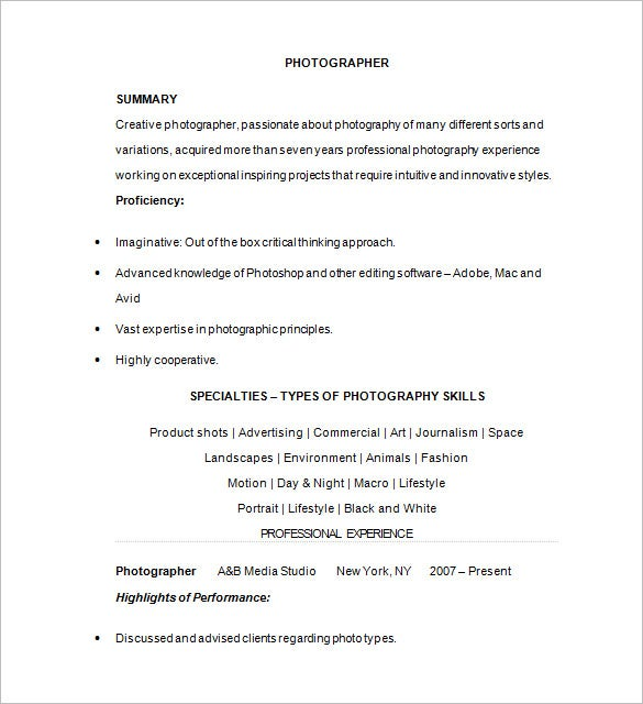 Photographer Resume Template – 17+ Free Samples, Examples, Format