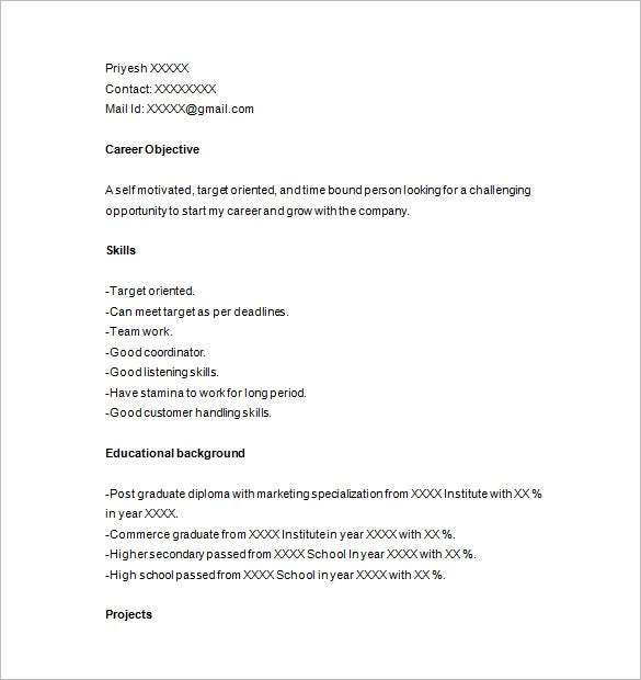 Photographer Resume For Fresher
