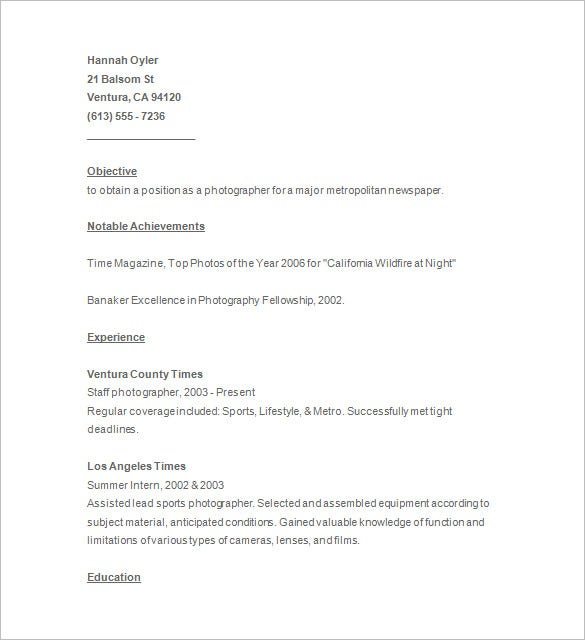 photographer resume template free samples examples format - Photographer Resume Template