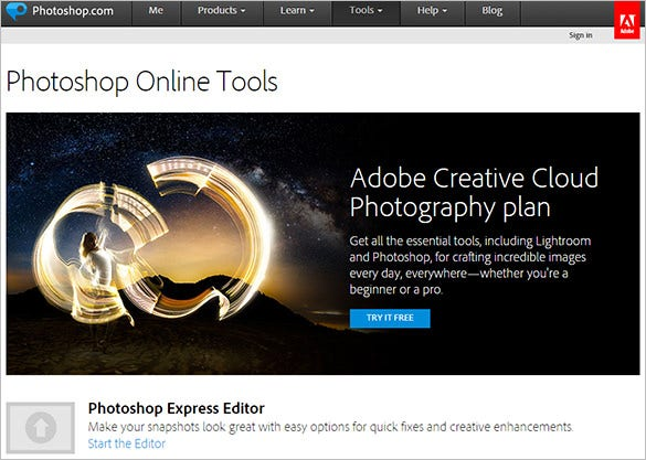 photoshop online tools try for free