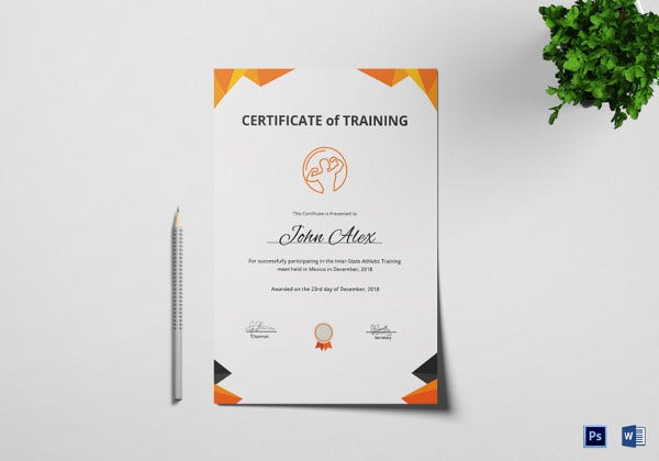 Physical Fitness Training Certificate Template  Certificate Of Training Template