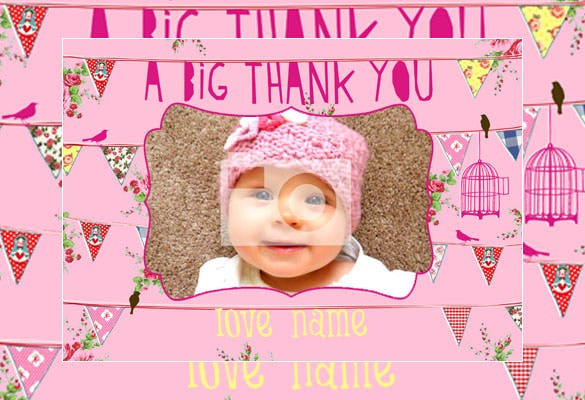 ping colour baby girl thank you card