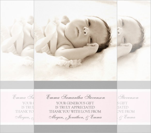 pink grey baby shower photo card sample