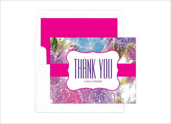 pink pansy thank you note card template