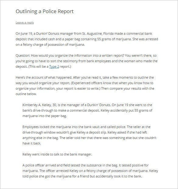 Report Outline Template 10 Free Sample Example Format – Police Report Format
