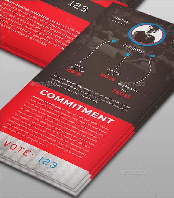 political palm card template psd design