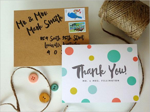 polka dot wedding thank you card to print