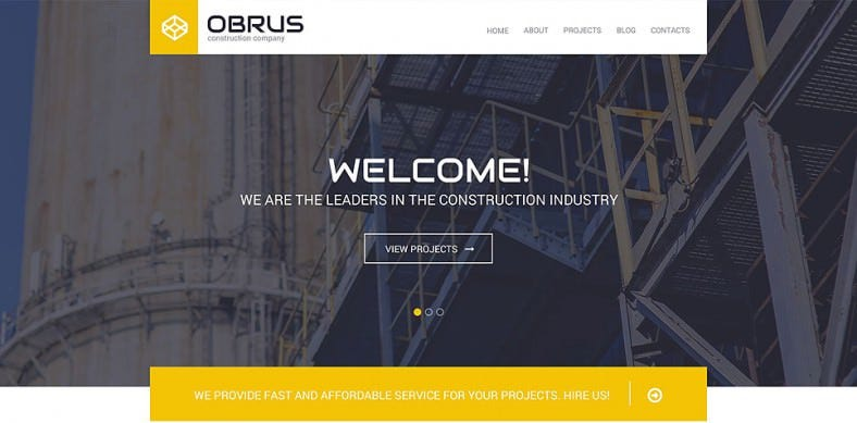Popular Construction Company WordPress Theme