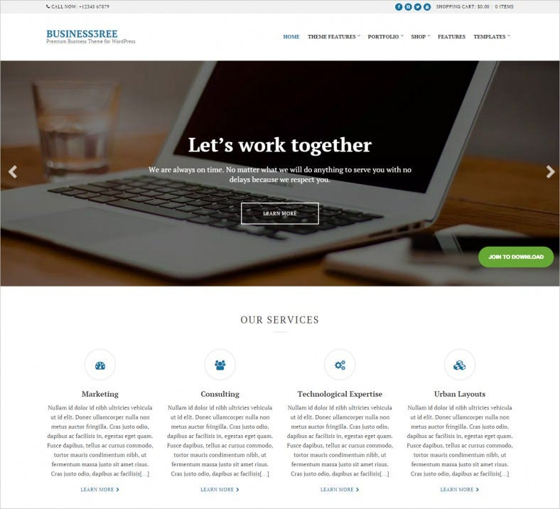 premium business portfolio wordpress theme 788x716