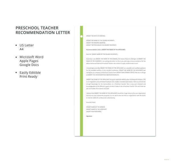 28 letters of recommendation for teacher pdf doc free preschool teacher recommendation letter template altavistaventures