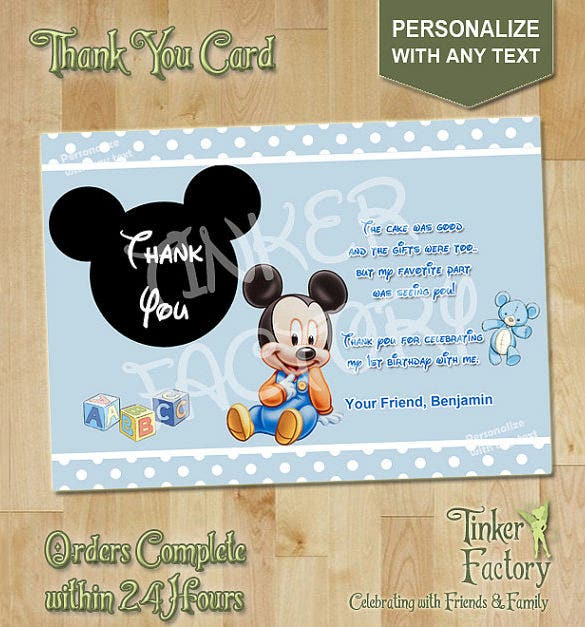 pretty mickey mouse thank you card