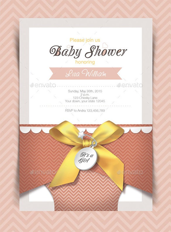 print baby shower invitation card psd design