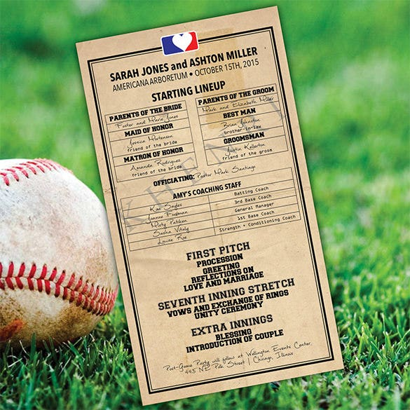 printable baseball lineup wedding program template