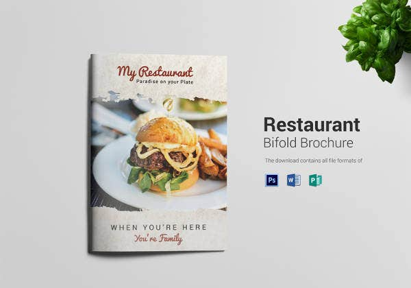 printable bi fold restaurant brochure in psd