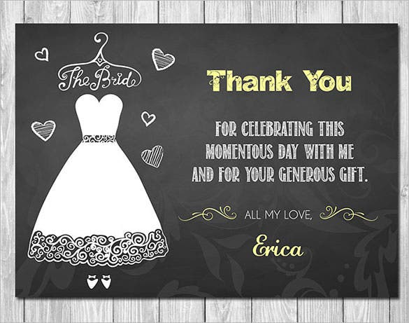 printable chalkboard dress bridal shower thank you card