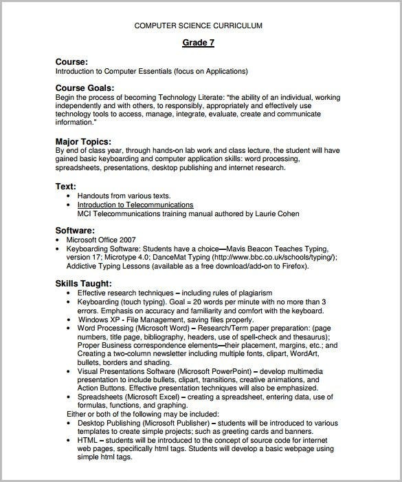 Course Outline Template   Free Sample Example Format Download