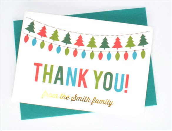 printable holiday thank you card