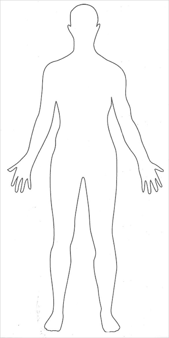 printable human body outline template