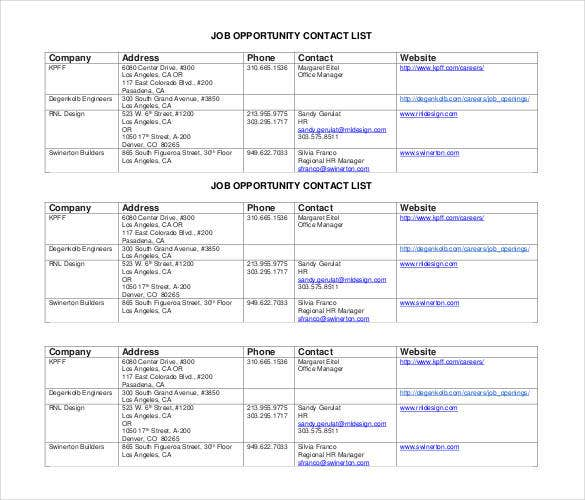 Printable Company Job Opportunity Contact List  Company Contact List Template