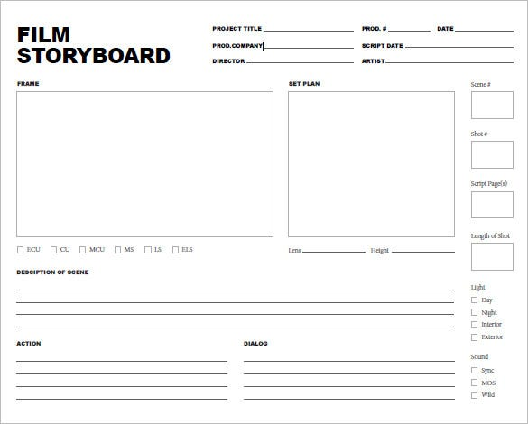 printable movie storyboard template free pdf