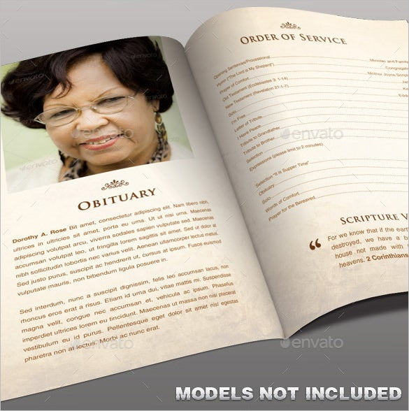 Printable Obituary Program Photoshop Template  Free Obituary Program Template