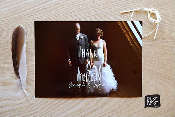 printable photo wedding thank you card