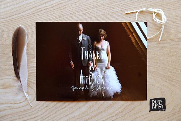 printable photo wedding thank you card