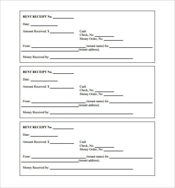 Printable Receipt Template  Manual Receipt Template