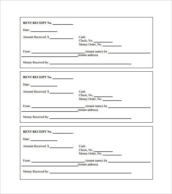 Rent Receipt Template 9 Free Word Excel PDF Format Download – House Rental Receipt