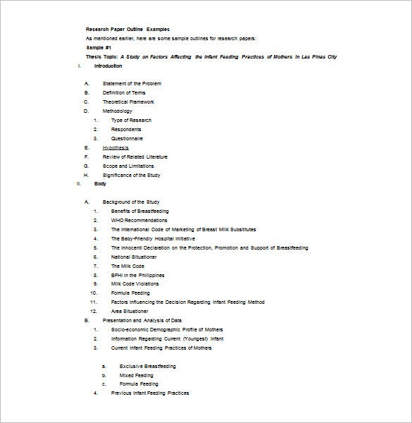 Graduate research paper outline template